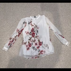 White House black market floral blouse